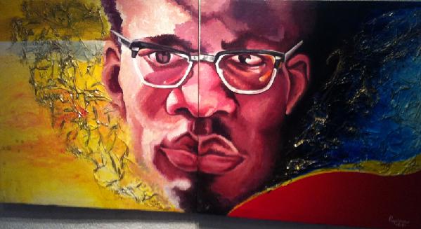 Lumumba. Tableau exposé place de l'Echangeur à Kinshasa