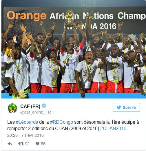 Les Léopards de la RDC champions de la Chan 2016
